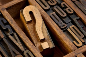 question mark in vintage letterpress type